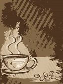 pic of coffee-cup  - Grunge style background with a cup of coffee and some beans - JPG