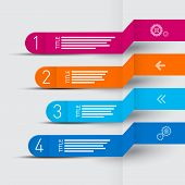 Vector Retro Paper Progress Steps For Tutorial, Infographics