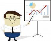 businessman chart cartoon