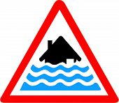 picture of flood  - Vector illustration of a severe flooding warning symbol - JPG
