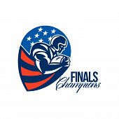 picture of scat  - Illustration of an american football gridiron rushing running back player running with ball facing side set inside shield shape done in retro style with words Finals Champions - JPG