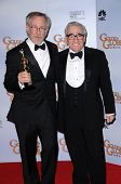 Steven Spielberg and Martin Scorsese in the press room at the 66th Annual Golden Globe Awards. Beverly Hilton Hotel, Beverly Hills, CA. 01-11-09