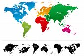 World map with colorful continents Atlas