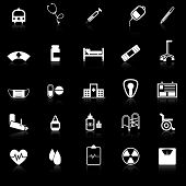 Hospital Icons With Reflect On Black Background