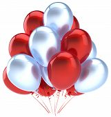 foto of helium  - Balloons birthday party decoration red silver balloon - JPG