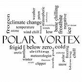Polar Vortex Word Cloud Concept In Black And White