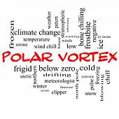 stock photo of frostbite  - Polar Vortex Word Cloud Concept in red caps with great terms such as cold wind chill ice and more - JPG