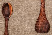 Wooden Utensils On Burlap Background