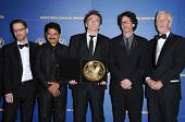 L-R Ethan Coen, Raj Acharya, Danny Boyle, Joel Coen and Michael Apted in the press room at the 61st