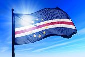 Cape Verde flag waving on the wind