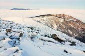 Landscape Winter Hill Scene With Fog.
