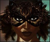 Masquerade mask with feathers.