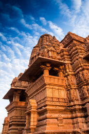 stock photo of kandariya mahadeva temple  - Kandariya Mahadeva Temple dedicated to Lord Shiva Western Temples of Khajuraho Madhya Pradesh India - JPG