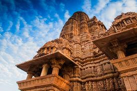 picture of kandariya mahadeva temple  - Kandariya Mahadeva Temple dedicated to Lord Shiva Western Temples of Khajuraho Madhya Pradesh India - JPG