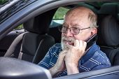 Frightened Senior Man In Car Calls For Help on Cell Phone