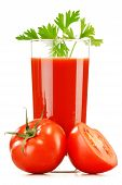 Glass With Fresh Tomato Juice Isolated On White. Detox Diet