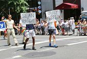 Just married LGBT Pride Parade participants in New York City