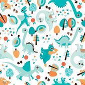 Seamless baby blue dinosaur illustration kids background pattern in vector