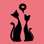 black silhouettes of Two lovely kittens, vector
