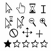 Hand drawn vector cursors icons: finger hand and magnifier and rating stars