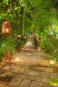 picture of luminaria  - Beautiful garden path at night scene illuminated by candles and lanterns - JPG