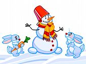 The Cartoon Illustration Of A Snowman And Two Rabbits And Snowflakes.