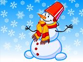 The Illustration Of A Cartoon Snowman With Snowflakes