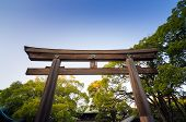 Torii Gate Standing At The Entrance To Meiji Jingu Shrine, Tokyo, Japan.