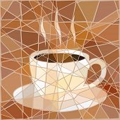 Brown mosaic illustration of a cup of steaming coffee