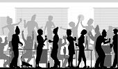 Illustrated silhouettes of business people at an office party