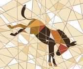 Colorful mosaic illustration of a kicking donkey