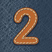 Number 2 made from leather on jeans background - vector illustration