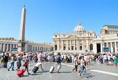 Tourists at Saint Peter's Square on Agoust 19 2013 in Vatican City Vatican.
