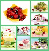 Fruit dessert collage