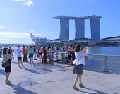 Marina Bay Sands and tourists in Singapore