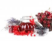 Berries jam in glass jar isolated on white