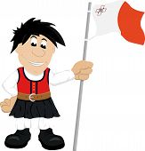 Cartoon illustration of a Maltese guy in traditional dress holding the flag of Malta