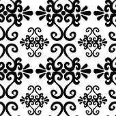 stock photo of uncolored  - Seamless ornament pattern with uncolored swirl elements on white - JPG