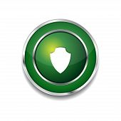 Shield Circular Vector Green Web Icon Button