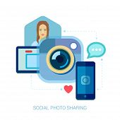 Social photo sharing and selfie flat design concept icons