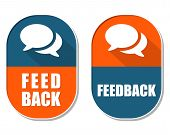 Feedback And Speech Bubbles Signs, Two Elliptical Labels