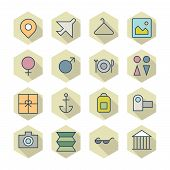 Thin Line Icons For Travel And Resort