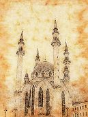 The Kul Sharif Mosque Vintage Background