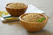 Green Raw Buckwheat In Bamboo Bowl