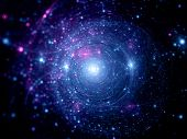 picture of deep blue  - Blue pink star systems in deep space abstract background - JPG
