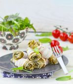 picture of sorrel  - Rolls from an omelet with a sorrel and bacon for breakfast - JPG