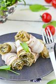 foto of sorrel  - Rolls from an omelet with a sorrel and bacon for breakfast - JPG