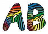Background skin zebra shaped letter A,B