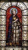 PARIS, FRANCE - NOV 10, 2012: Saint Clotilde, stained glass, Saint-Vincent-de-Paul Church (design Je