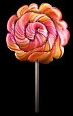 Bright colorful lollipop over black background